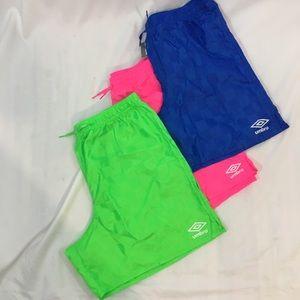 Umbro classic neon soccer shorts 3
